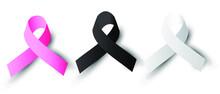 Black White Pink Ribbon Set Vector