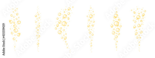 Fotografiet Golden shiny bubbles streaming set