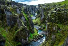 The Great Fjadrargljufur Canyon In Iceland