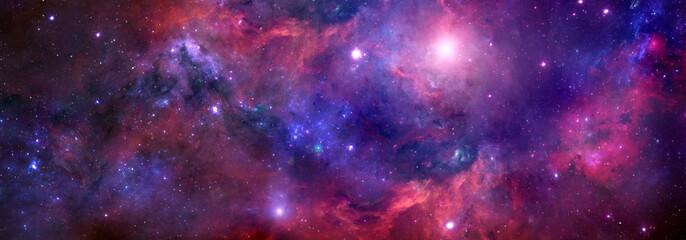 Cosmic background with red nebula and stars.Giant luminous nebula