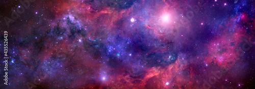 Obraz na plátně Cosmic background with red nebula and stars.Giant luminous nebula
