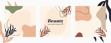 Organic Shapes And Floral Vector. Good For Social Media, Beauty, Skincare, And Fashion Template.