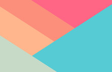 Abstract Geometric Flat Background Illustration Trendy Bright Green, Pink, Orange, Blue And Peach Colors - Minimalism, Modern, Simple