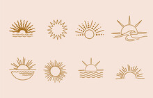 Collection Of Line Design With Sun.Editable Vector Illustration For Website, Sticker, Tattoo,icon