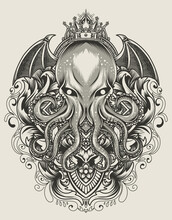 Illustration King Octopus With Vintage Engraving Ornament