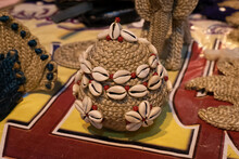 Beautiful Handmade Decorative Basket Made By Jute Is Displayed In A Shop For Sale In Blurred Background. Indian Handicraft