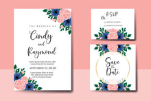 Wedding Invitation Frame Set, Floral Watercolor Hand Drawn Rose With Anemone Flower Design Invitation Card Template