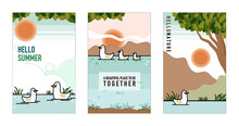 Cute Duck And Ducklings Swim In The River With Sunset. Vector Illustrations Set For Poster And Card.