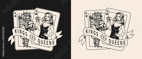 Stampa su Tela King and queen playing cards label