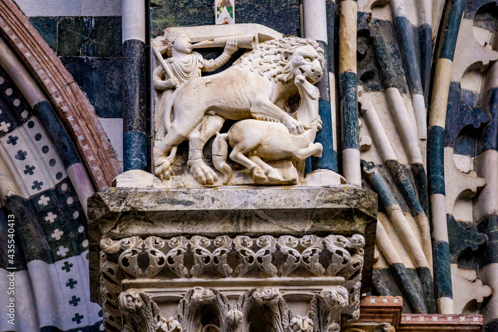 Detail from Genoa Cathedral in Italy