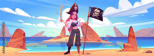 Girl pirate on beach with jolly roger flag and sword. Young sexy woman in filibuster captain costume, cocked hat and wooden leg prosthesis stand on rocky island sea shore, Cartoon vector illustration