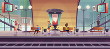 People Waiting Train On Indoor Railway Station Platform, Passengers In Modern Subway With Billboard, Schedule Monitors, Street Lamps And City View Through Wide Windows, Cartoon Vector Illustration