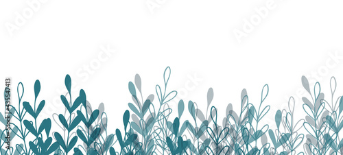 Fotografie, Obraz Floral web banner with drawn color exotic leaves