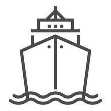 Marine, Transport Industry, Square Line Vector Icon.
