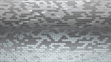 Silver Tiles Arranged To Create A Rectangle Wall. Glossy, 3D Background Formed From Luxurious Blocks. 3D Render
