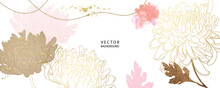 Asian Background ,Oriental Japanese Style Abstract Pattern Background Design  With Flower Decorate In Water Color Texture