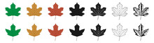 Vector Illustration Of Green, Yellow And Red Sycamore Leaves In Different Styles, Isolated On A White Background. Maple Leaf Clip Art.