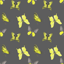 Yellow Butterfly Seamless Pattern On A Gray Background. Watercolor Butterflies' Endless Print. Blue, Yellow, And Green Butterflies Illustration. Cute Colorful Hand-drawn Butterfly Backdrop. Wallpaper.