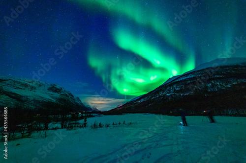wundervolle Nordlichter in Troms in den Lyngenalps. begeisterndes Lichtspiel am nächtlichen Himmel, jubelnde Menschen. Aurora Borealis bei Tromsö