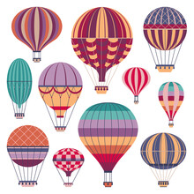 Vintage Striped Air Balloons Icons In Flat