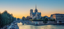 Cathedral Notre-Dame In Paris At Sunset