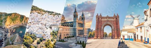 Canvas Spain famous landmarks collage