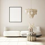mock up poster frame in modern interior background, living room, Minimalistic style, 3D render, 3D illustration - 435568097