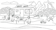 Residential Trailer Trailer Coloring Book For Family Travel. Illustration Of A Parking Lot For A Motorhome On The Background Of A Mountain Landscape . Suitable For Page Design, Book Design, Decoration