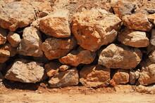 Ściana Z Kamieni Na Pustyni