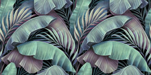 Tropical Exotic Seamless Pattern. Beautiful Palm, Banana Leaves. Hand-drawn Vintage 3D Illustration. Glamorous Abstract Jungle Background Design. For Luxury Wallpapers, Cloth, Fabric Printing, Goods