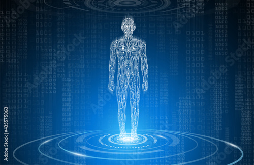 Photo abstract background technology concept in blue light,brain and human body heal ,