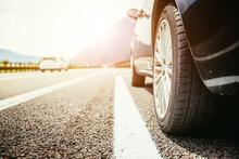 Car Is Standing On The Breakdown Lane, Asphalt And Tyre, Italy