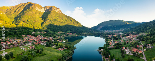 Panorama of Endine Lake , the lake is located near Bergamo in Cavallina Valley , Italy Lombardy.