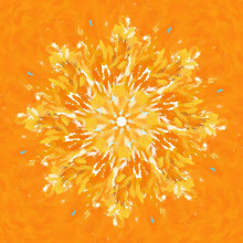 Abstract Design Element. Digital Orange Mandala For Meditation And Relaxing. Just Keep Peace And Stay Calm By Using Mandalas. Yellow Kaleidoscope. Yoga Template