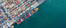Aerial View Container Ship In Port At Container Terminal Port, Ship Of Container Ship Stand In Terminal Port On Loading, Unloading Container, Commercial Cargo Ship In Sea Port.