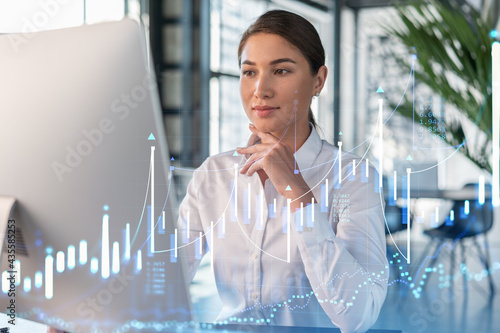 Attractive businesswoman in white shirt at workplace working with laptop to optimize trading strategy at corporate finance fund Fototapet