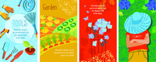 Concept, Set Of Four Garden Posters, Vertical Banner, Vector Illustrations, Isolated Objects In Clipping Mask, Easy To Move Around.