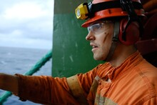 Offshore Worker On Offshore Unit