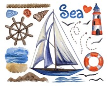 Hand Drawing Watercolor Marine Sailing Set: Lighthouse, Sea, Shells, Boat. Use For Card, Print, Postcard, Poster, Pattern, Template