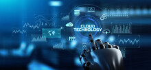 Cloud Technology Service. Data Storage And Computing. Internet Concept. Robotic Arm 3d Rendering.