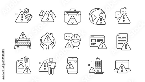 Warnings line icons. Risk attention, Caution sign and Exclamation mark. Danger alert, error caution, urgent information line icons. Safety risk, construction warning, documentation error. Vector