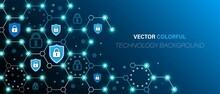 Blue Background Technology, Information Security, Geometric Polygon Grid Design, Communication Cells, Mobile Network, Cloud File Storage, Firewall, Vector Illustration