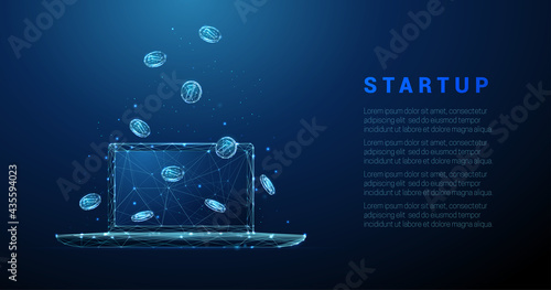 Foto Abstract low poly blue laptop with falling coins