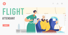 Flight Attendant Landing Page Template. Family Characters Inside Of Plane. Stewardess And Passengers During Mealtime
