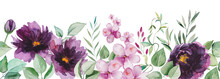 Watercolor Purple Flowers And Green Leaves Seamless Border Illustration