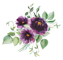 Watercolor Purple Flowers And Green Leaves Bouquet Illustration