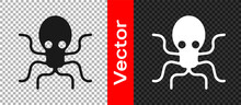 Black Octopus Icon Isolated On Transparent Background. Vector