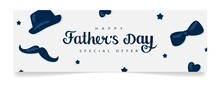 Father's Day Sale. Horizontal Banner Template With Lettering, Hat, Mustache, Male Bow Tie In The Background. Vector Illustration