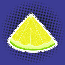 Slice Of Lime Or Lemon Sticker On A Purple Violet Pop Art Halftone Background, Black Dots In The Form Of A Circle , Pins Or Patches, Retro Style, Vector Illustration