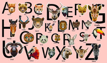 Cute Vector Zoo Alphabet Poster With Low Poly Animals. Set Of Kids Abc Elements In Scandinavian Style.